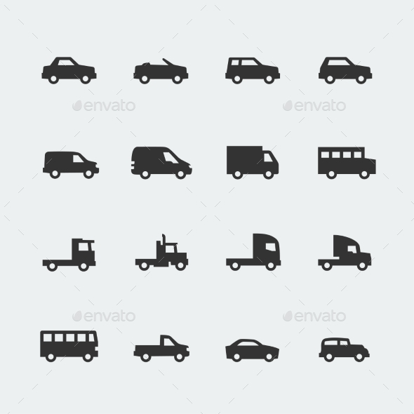 GraphicRiver Vector Cars Vehicles Mini Icons Set 10783408