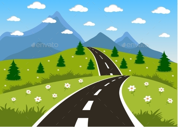GraphicRiver Spring or Summer Road to the Mountain 10783441