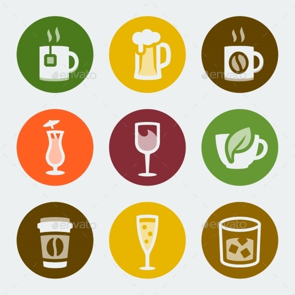 GraphicRiver Vector Drinks Color Icons Set 10783722