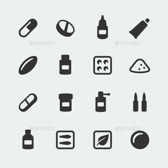 GraphicRiver Vector Medications Mini Icons Set 10783728