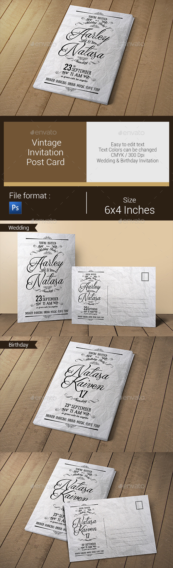 GraphicRiver Vintage Invitation & Post Card 10783764