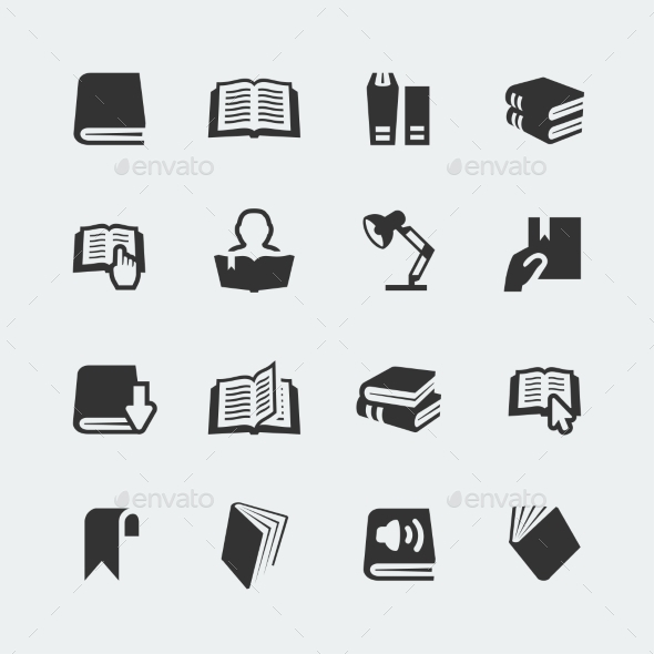 GraphicRiver Vector Books and Reading Mini Icons Set 10783766