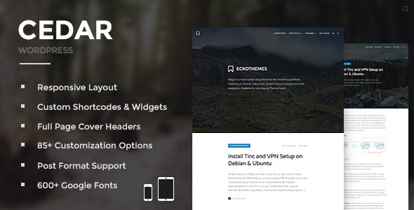 ThemeForest Cedar Responsive WordPress Blog Theme 10783895