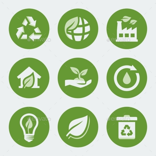 GraphicRiver Vector Ecology and Recycling Icons Set 10783943