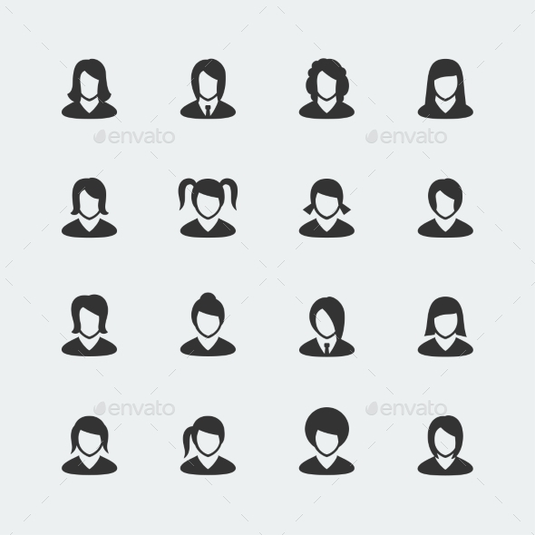 GraphicRiver Vector Women Mini Icons Set 10783953