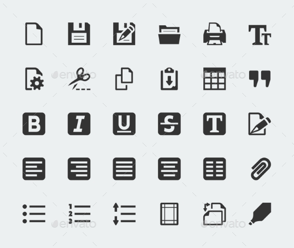 GraphicRiver Vector Text Editor Mini Icons Set 10783959