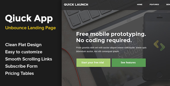 ThemeForest QuickApp Unbounce Landing Page 10752641
