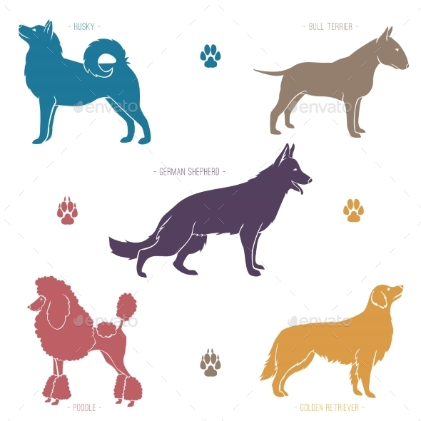 GraphicRiver Set of Dog Breed Sihouettes 10783994
