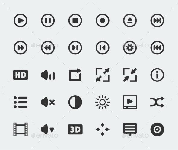 GraphicRiver Vector Video Player Mini Icons Set 10784233