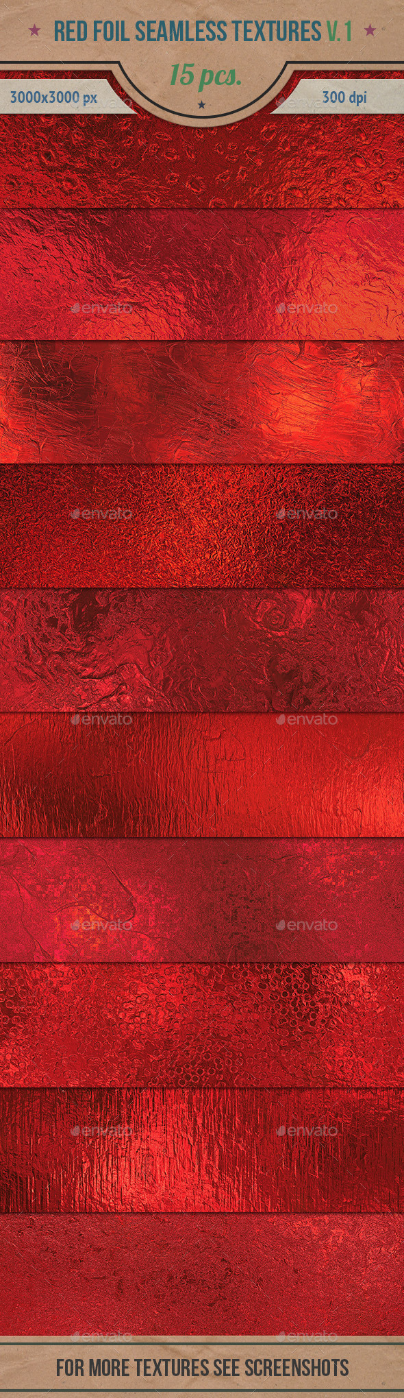 GraphicRiver Red Foil Seamless HD Textures Pack v.1 10784374