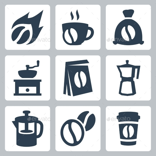 GraphicRiver Vector Isolated Coffee Icons Set 10784376