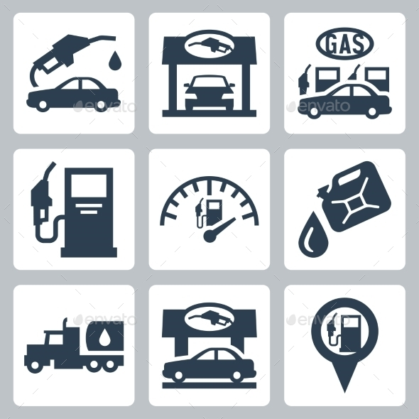 GraphicRiver Vector Gas Station Icons Set 10784385