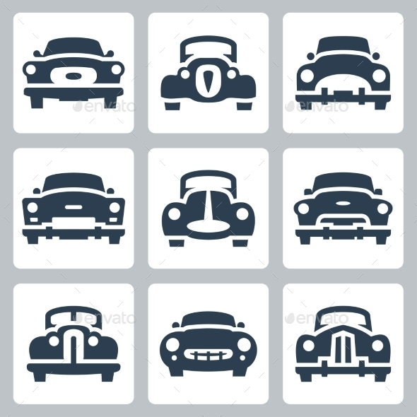 GraphicRiver Vector Old Cars Icons Set Front View 10784392