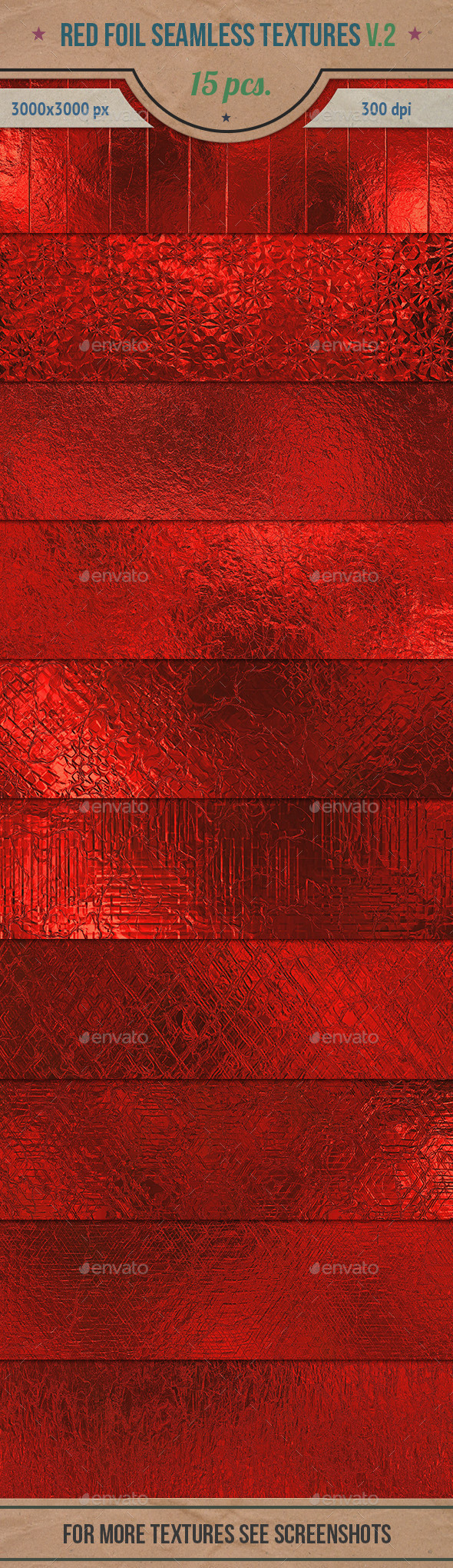 GraphicRiver Red Foil Seamless HD Textures Pack v.2 10784470