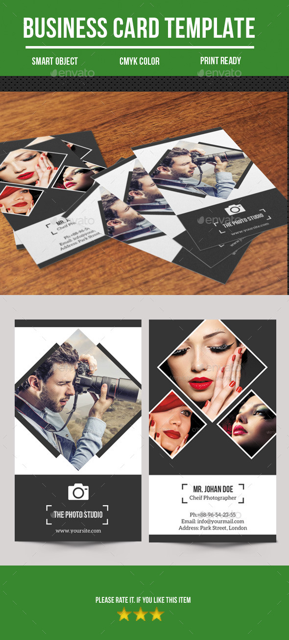 GraphicRiver Photography Business Card 10784475