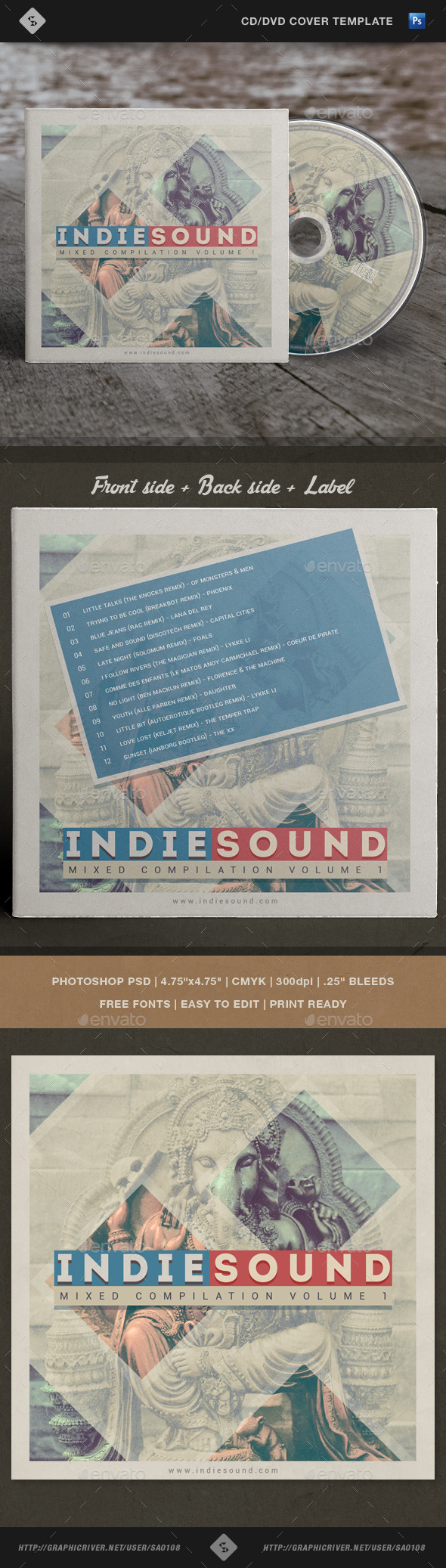 GraphicRiver Indie Sound CD Cover Template Artwork 10784818