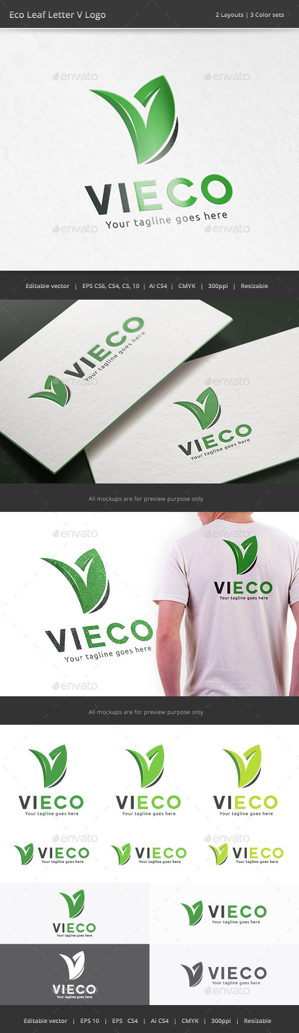 GraphicRiver Eco Leaf Letter V Logo 10784969