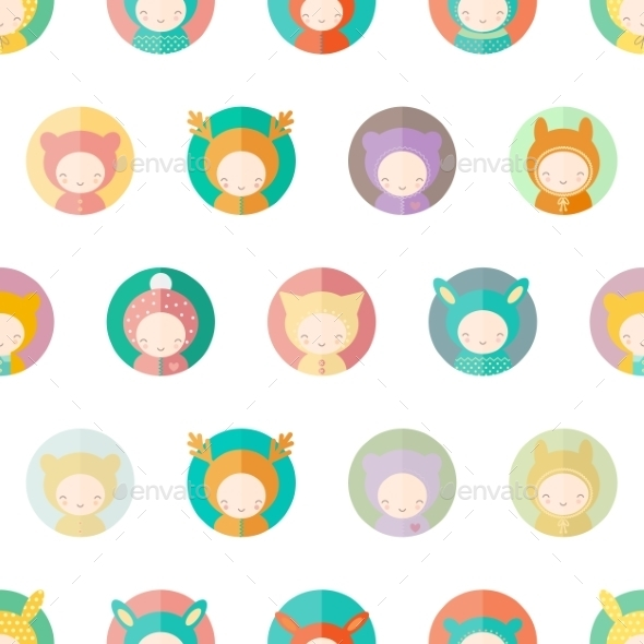 GraphicRiver Characters Dressed as Animals Pattern 10785193
