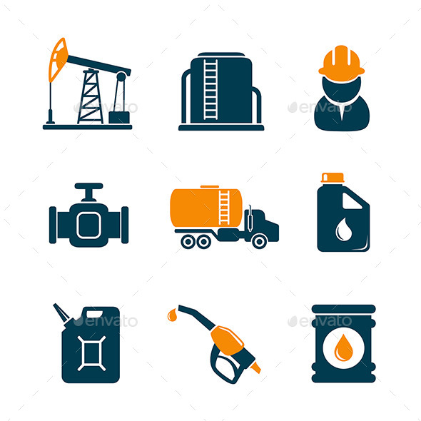 GraphicRiver Oil Industry Gasoline Processing Icons 10785746