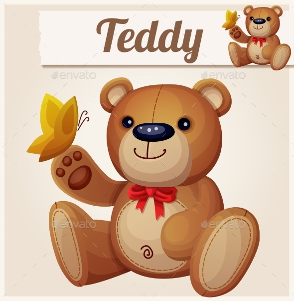 GraphicRiver Teddy Bear and Butterfly 10785760