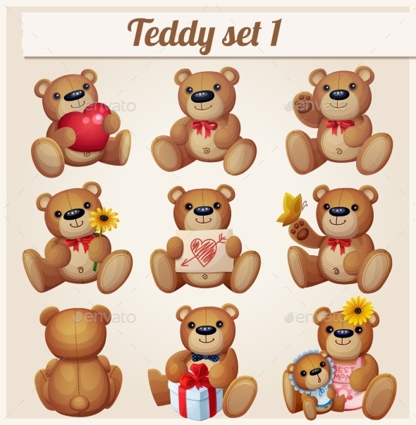 GraphicRiver Teddy Bears Set Part 1 10785764