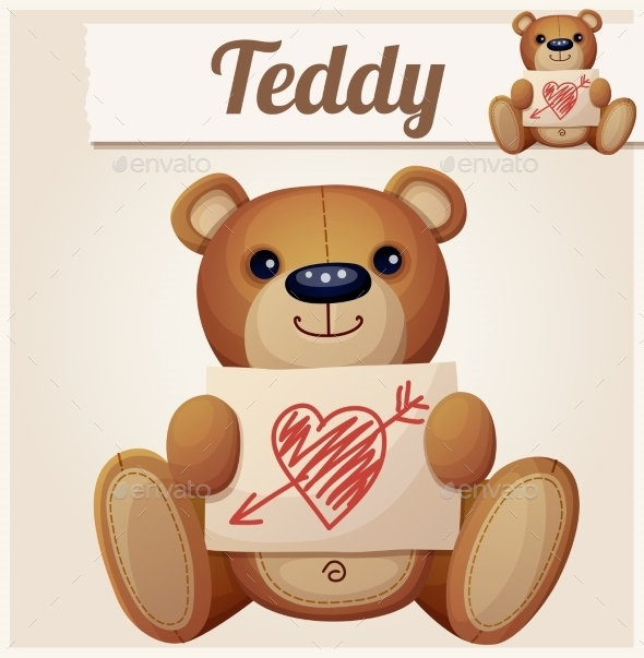 GraphicRiver Teddy Bear with Valentine s Card 10785860