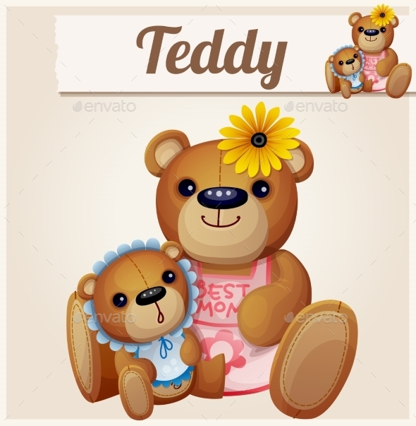GraphicRiver Teddy Bear Mom and Baby 10785864
