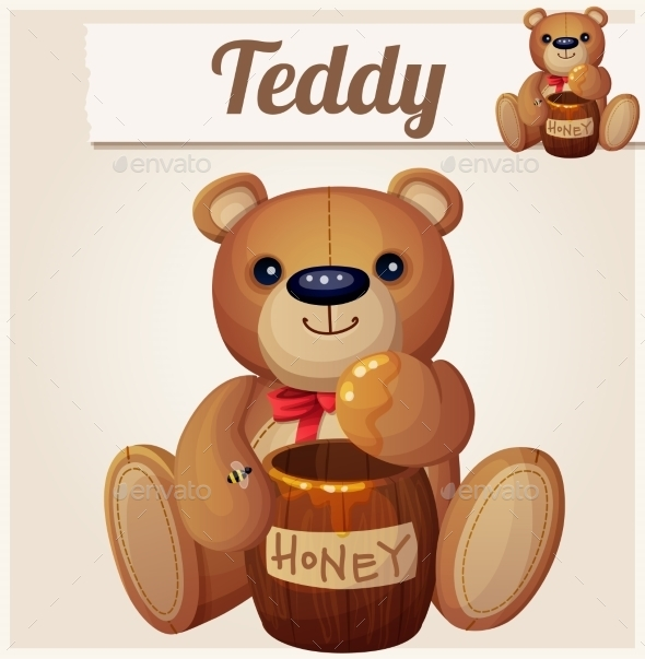GraphicRiver Teddy Bear and the Barrel of Honey 10785867