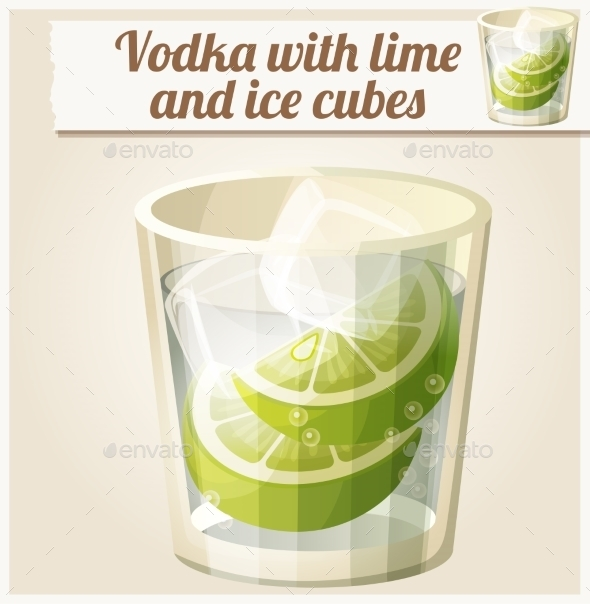 GraphicRiver Vodka with Lime and Ice Cubes 10785887