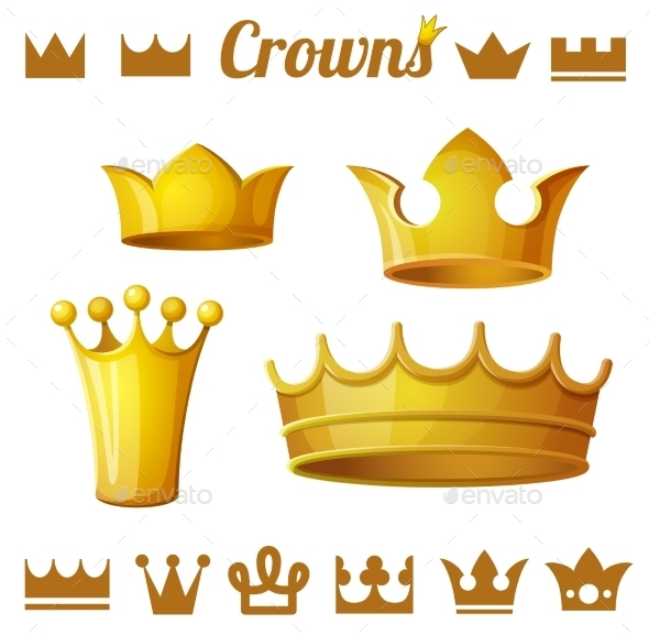 GraphicRiver Set 2 of Royal Gold Crowns 10786068