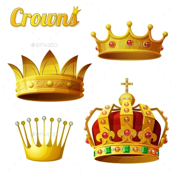 GraphicRiver Set 3 of Royal Gold Crowns 10786070