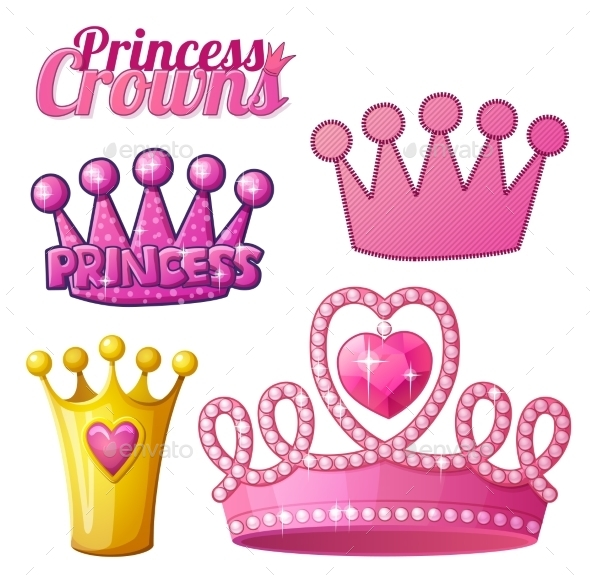 GraphicRiver Set of Princess Crowns 10786150