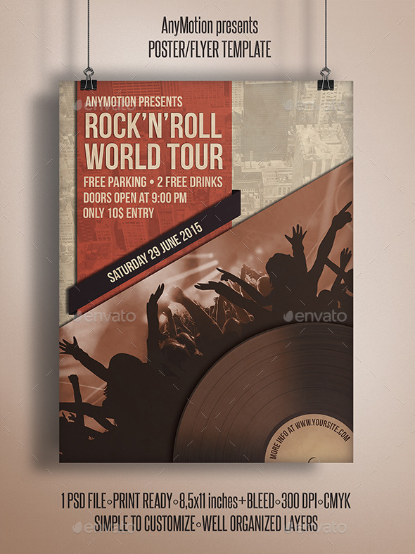 GraphicRiver Rock n roll World Tour Flyer Template 10787343