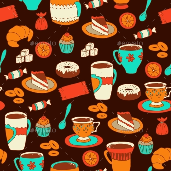 GraphicRiver Seamless Coffee and Tea Pattern 10787344