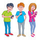 Teens Texting and Using Cell Phones - GraphicRiver Item for Sale