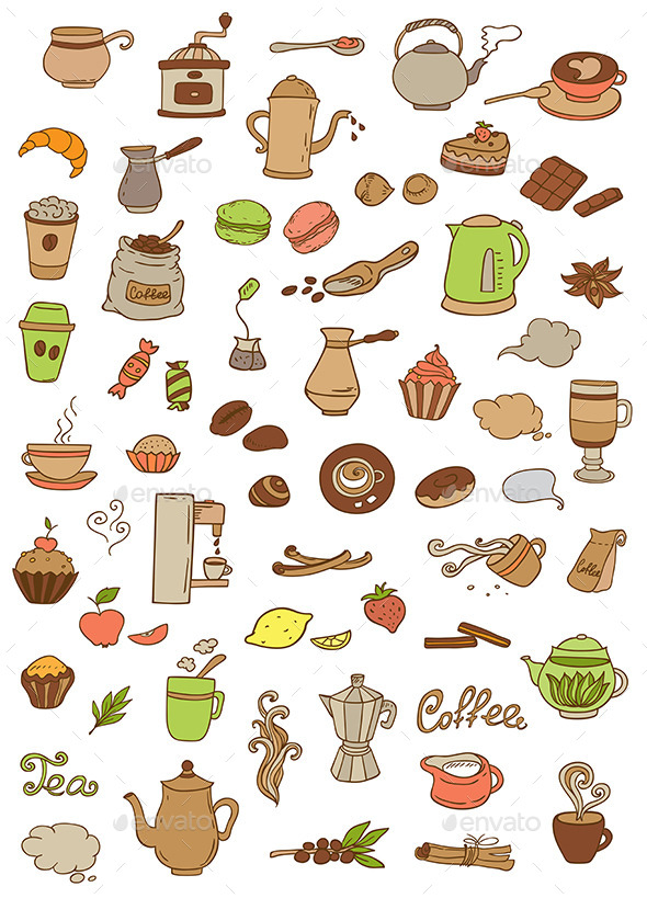 GraphicRiver Coffee and Tea Icons 10787679
