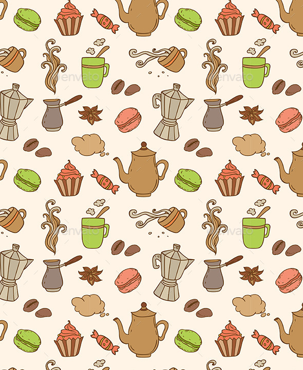 GraphicRiver Seamless Pattern with Coffee 10787743