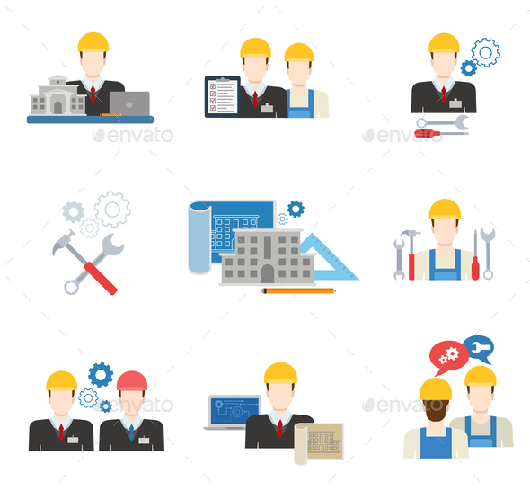 GraphicRiver Architects Engineers and Construction Workers Flat Icon Set 10787970