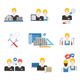 Architects, Engineers and Construction Workers Flat Icon Set - GraphicRiver Item for Sale