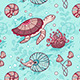 Seamless Pattern with Turtle and Nautilus - GraphicRiver Item for Sale
