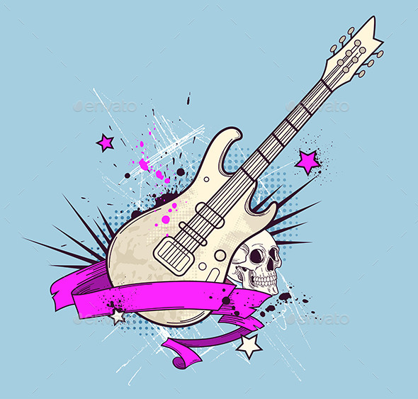GraphicRiver Background with Electric Guitar and Skull 10787988