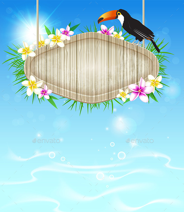 GraphicRiver Tropical Background with Toucan 10788024