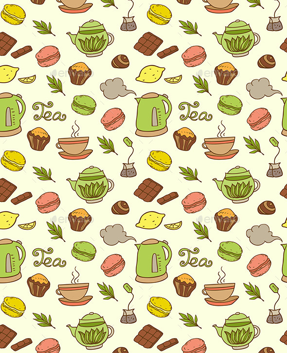 GraphicRiver Seamless Pattern with Teapot and Cakes 10788218