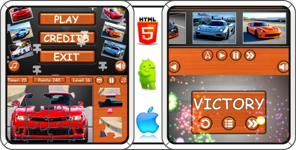 CodeCanyon Supercars Puzzle 100% Complete game & AdMob 10788275