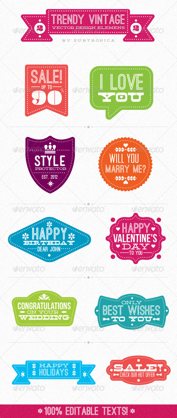 Trendy Vintage Vector Design Elements Set 2 - Miscellaneous Seasons/Holidays