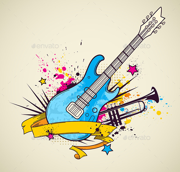 GraphicRiver Background with Electric Guitar and Trumpet 10788400