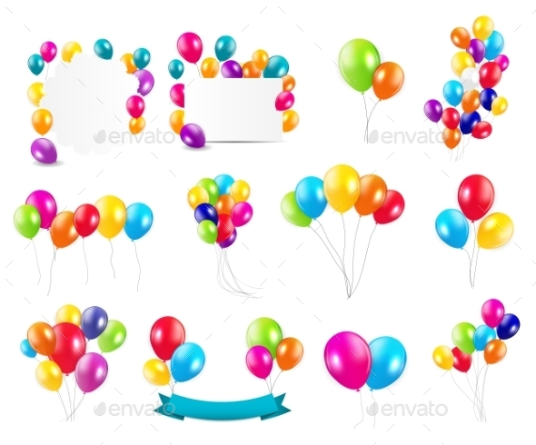 GraphicRiver Color Glossy Balloons Set 10788401