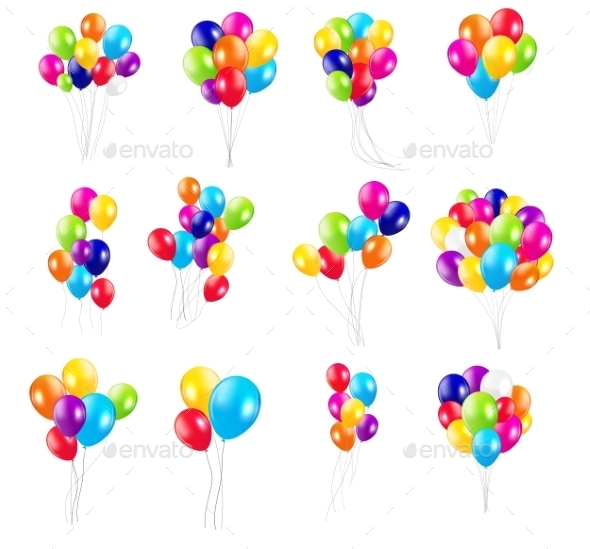 GraphicRiver Color Glossy Balloons Set 10788407