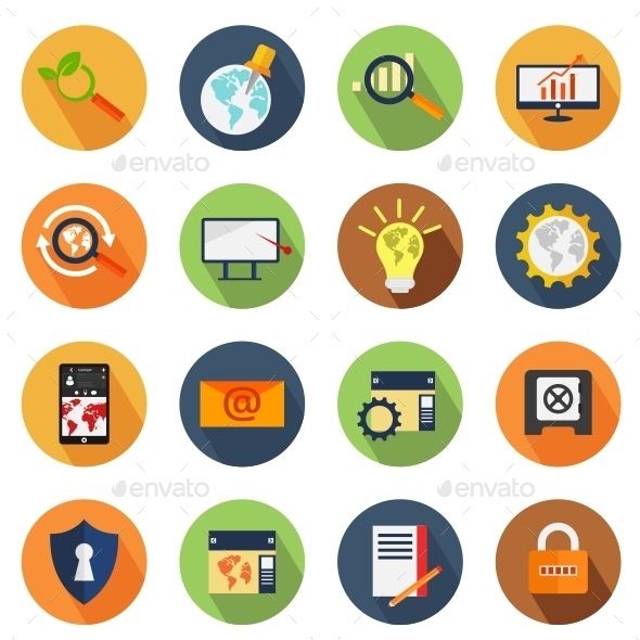 GraphicRiver SEO Colorful Circle Icons 10788415
