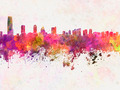 Jersey City skyline in watercolor background - PhotoDune Item for Sale